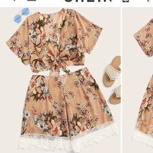 Floral Print Tie Front Top & Shorts Set